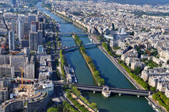 Aerial view of Paris with Seine river, France Royalty Free Stock Photography