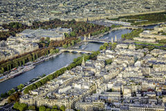 Aerial view of Paris with Seine River Royalty Free Stock Photos