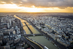 Aerial view of Paris and Seine River Royalty Free Stock Photography