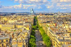 Arc de Triomphe aerial. Aerial view of Paris skyline from Arc de Triomphe in a beautiful sunny day with blue sky. Avenue de Wagram from Triumphal Arch. Paris Stock Image