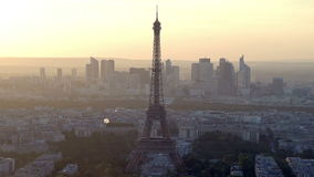 Aerial view of the Paris skyline stock video footage