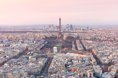 Aerial view of Paris at sundown, France Stock Photos