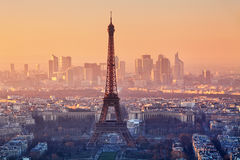 Aerial view of Paris at sunset Royalty Free Stock Photo