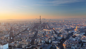 Aerial view of Paris at sunset Royalty Free Stock Images