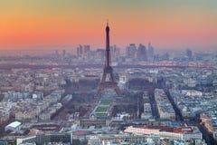 Aerial view of Paris at sunset Stock Image