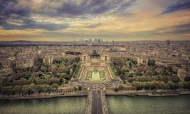Aerial view of Paris at sunset Royalty Free Stock Photos