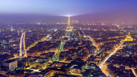 Aerial view of Paris at twilight Royalty Free Stock Image