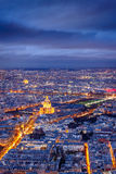 Aerial view of Paris at twilight with the Invalides, France Stock Photos