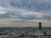 Aerial view of Paris under cloudly sky France stock image