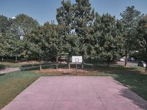 Aerial view of a park with a basketball field in Milan royalty free stock images