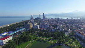 Aerial view of park in Batumi stock video footage