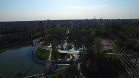 Aerial view of park in Bucharest, Romania stock video