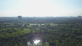 Aerial view of park, lake and urban buildings on horizon at sunny day stock video