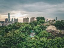 Aerial view of a park next to urban  area of Hong Kong Royalty Free Stock Photography