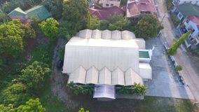 Aerial view of Park Place village chapel stock photos