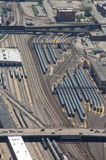 Aerial view of parked trains. Aerial view on trains parked at railroad yard area in Chicago. The long lines of train wagons form parallel and curved steel lines Stock Photography