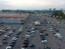Aerial view at the parking area of the Auchan mall Royalty Free Stock Image