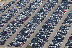 Aerial view of parking cars Royalty Free Stock Image