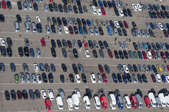 Aerial view of parking cars Stock Images