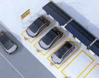 Aerial view of parking lot for car sharing business. Electric cars charging at charging station and powered by solar panel. 3D rendering image vector illustration