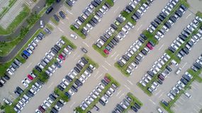 Aerial view of a parking lot with cars Royalty Free Stock Photography