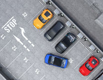 Aerial view of parking lot. Half of parking lot available for EV charging service. 3D rendering image Royalty Free Stock Image