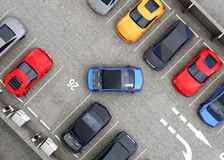 Aerial view of parking lot. Half of parking lot available for EV charging service Stock Photo