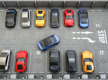 Aerial view of parking lot. Half of parking lot available for EV charging service Stock Photos