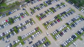 Bird eye view of parking lot Royalty Free Stock Images