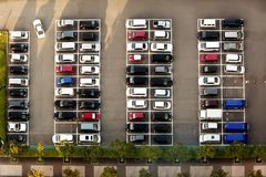 Aerial view of a parking lot royalty free stock photos