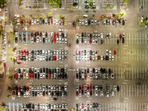 Aerial view of a parking lot in shopping mall in Rio de Janeiro, Brazil.  stock images