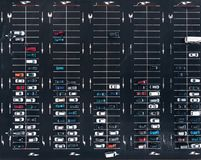 Aerial view parking place car lot near mall stock image