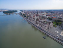 Aerial view of Parliament building in Budapest. Stock Photo
