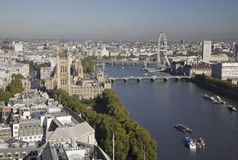 Aerial view on Parliament and London Eye. Royalty Free Stock Images