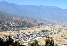 Aerial view of Paro City with colorful houses landscape Stock Image