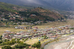 Aerial view of Paro city landscape. With houses and buildings Royalty Free Stock Image