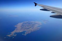 Aerial View of Paros Island in Aegean Sea. Aerial view of Paros Island in navy blue Aegean Sea Stock Images