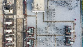 Aerial view part of electric station engineering construction on a electric power plant.  royalty free stock images