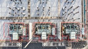 Aerial view part of electric station engineering construction on a electric power plant.  royalty free stock photography
