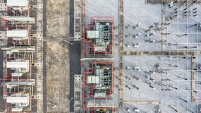 Aerial view part of electric station engineering construction on a electric power plant.  stock photo