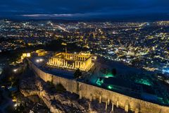 Aerial view of Parthenon and Acropolis in Athens. Greece royalty free stock photo