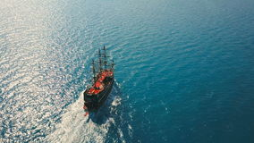 Aerial view of the party boat sailing ship at sea stock footage
