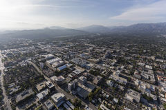 Aerial View Pasadena California. Aerial view of downtown Pasadena and the San Gabriel Mountains in Southern California Stock Photo