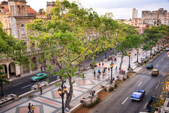 Aerial view of Paseo del Prado, Havana Royalty Free Stock Images