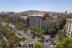Aerial view of Passeig de Gr�cia street in the Eixample district, Barcelona, Spain, Europe Royalty Free Stock Photos