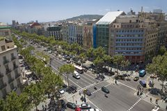 Aerial view of Passeig de Gr�cia street in the Eixample district, Barcelona, Spain, Europe Stock Photo