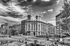 Aerial view of Passeig de Gracia, Barcelona, Catalonia, Spain Royalty Free Stock Images