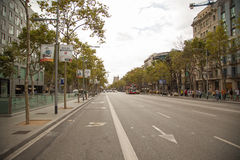 Aerial view of Passeig de Gracia street in the Eixample district, Barcelona, Spain, Europe Royalty Free Stock Photo