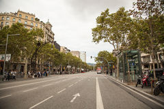 Aerial view of Passeig de Gracia street in the Eixample district, Barcelona, Spain, Europe Stock Images