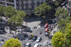 Aerial view of Passeig de Gr�cia street in the Eixample district, Barcelona, Spain, Europe Royalty Free Stock Images